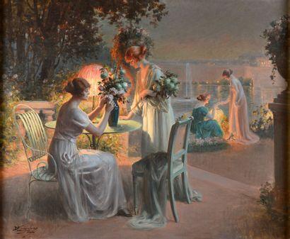 Delphin ENJOLRAS (1857-1945).  Femmes sur la terrasse préparant le bouquet de fleurs...
