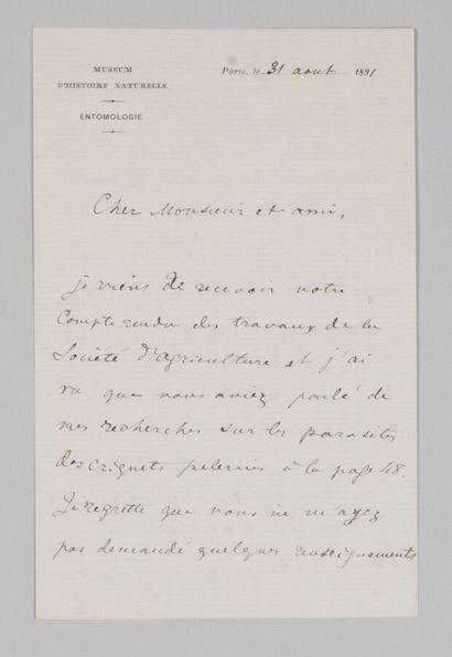 Charles BRONGNIART (1859-1899), entomologiste...