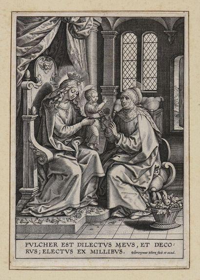 Hieronymus WIERIX (1553-1619)  La Vierge,...