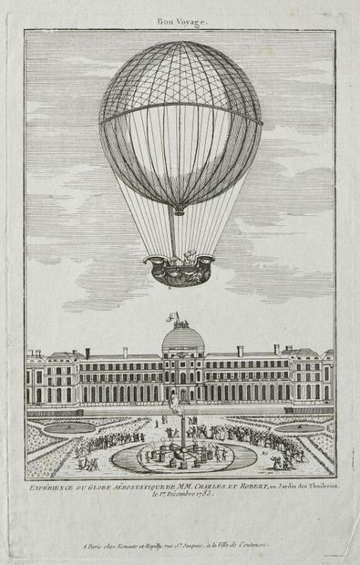 [AEROSTAT] ESTAMPES AU BALLON - XVIIIe siècle...