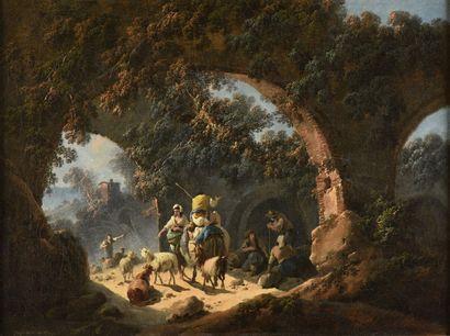 PILLEMENT Jean-Baptiste  Lyon 1728 - id. ; 1808    1 - Villageois et leurs bêtes...