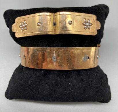 Bracelet Jonc plat rigide ouvrant ancien...