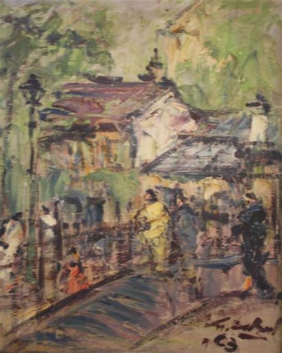 Georges Berger (1908 - 1976)  Scène de rue...
