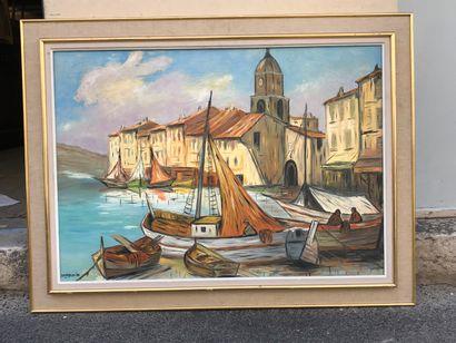 une huile sur toile Le port de St Tropez,...