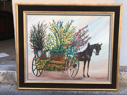 Charette de fleurs tirée par un cheval, Huile...