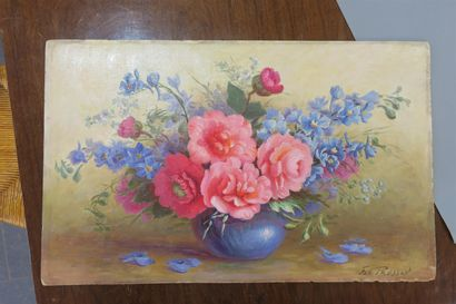 Bouquet de printemps, huile sur isorel, signée...
