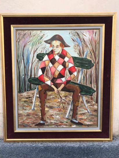 Portrait de Pierrot. Huile sur toile. Signé...