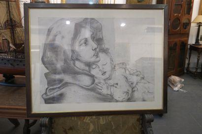 Un dessin encadré, mère et enfant. porte...