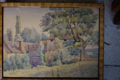 COLLARD, école moderne.  Deux dessins aquarellés...