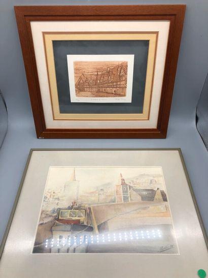 BALLIN, école moderne, Les quais, 1985, aquarelle....