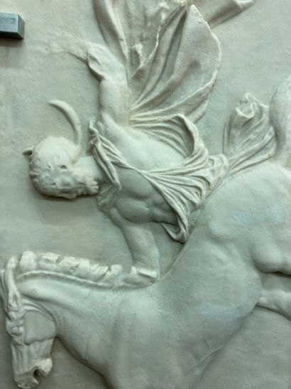 Sculpture in imitation of ancient bas-reliefs.  Rider and his horse.  103 x 152...