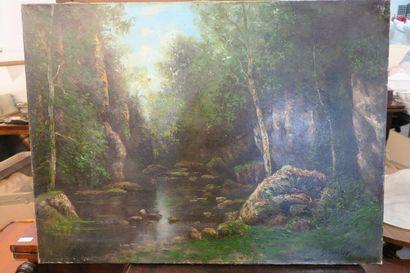 Le ruisseau du puits noir (Doubs) Huile sur...