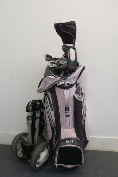 Ensemble de clubs de golf dans son sac et...