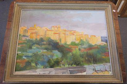 Une huile sur toile signée R. Peyrache. Village...