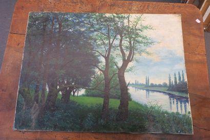 Bord de fleuve, huile sur toile, signée en...