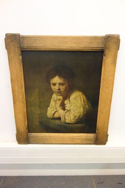 Pièce encadrée d'après Rembrandt, portrait...