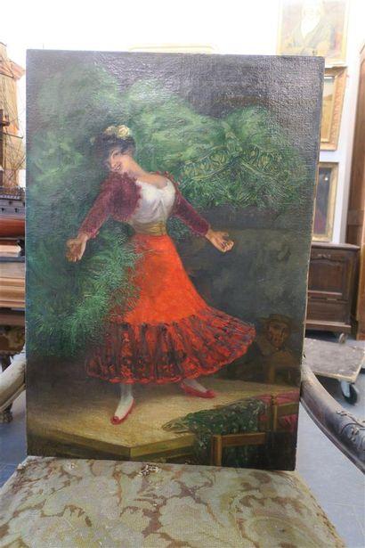 Danseuse de flamenco, huile sur toile, signée...