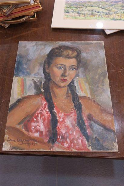 Une huile sur toile Portrait de jeune femme....