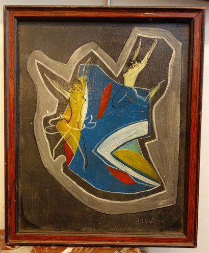 H. CAILLON, composition moderne, huile sur...