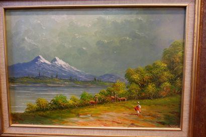 Huile sur toile figurant un paysage animé,...