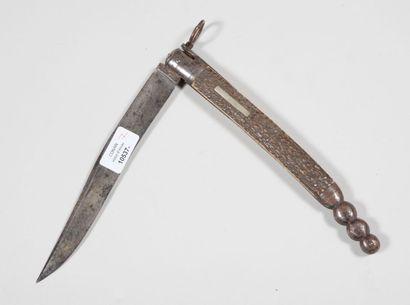Couteau pliant à cran, manche en bois de...