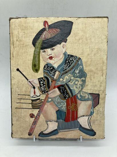 Ecole chinoise XIXe. Portrait d'un jeune...