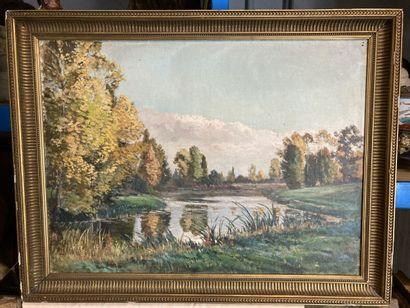 Edouard Auguste RAGU. Bords de Loire en automne....