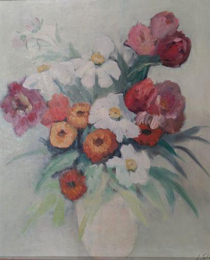 Jeanne Glachet (1887-1951).  Fleurs.  Huile...