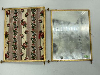 """Miroir de barbier à trois feuilles, monture métal doré.  Signé """"Miroir BROT déposé""""...."""
