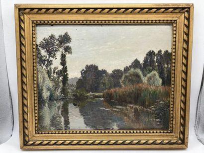 Edouard Auguste RAGU. Bords de Loire. Huile...