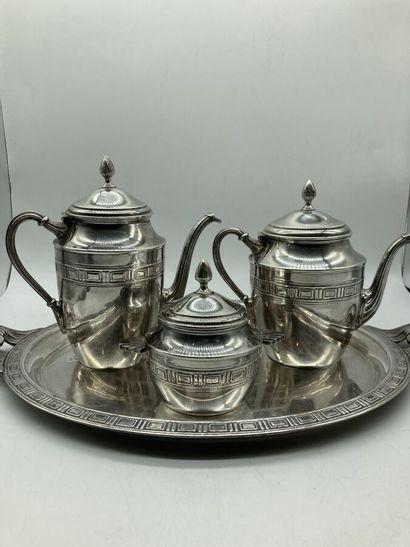 SERVICE thé-café 3 pièces en métal argenté...