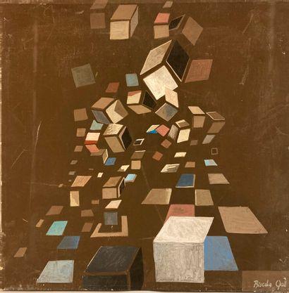 Biserka GALL (1942-2002).  Composition.  Acrylique...