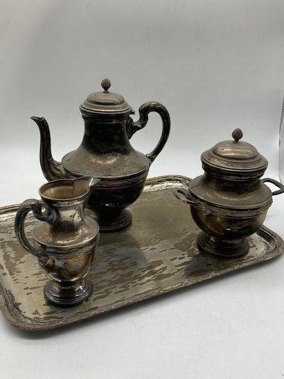 Service à thé en métal argenté à décor de...