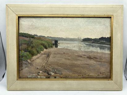 Edouard Auguste RAGU. Aux bords de la Loire,...