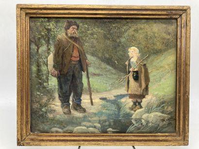 Edouard Auguste RAGU. Cosette et Jean Valjean,...