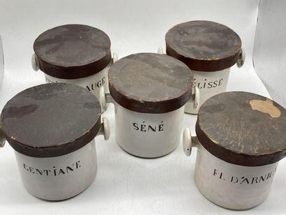 Suite de cinq pots à pharmacie en faïence blanche à décor légendé.