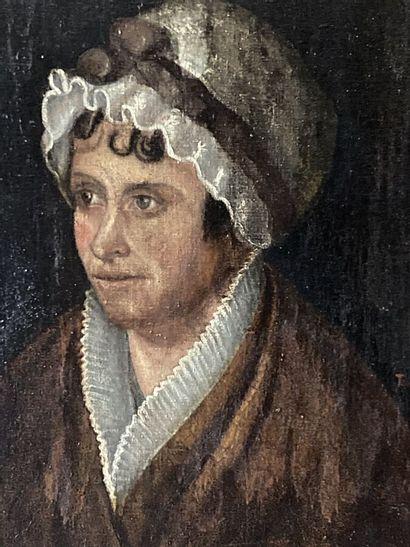 Ecole française du XIXème siècle.  Portrait de dame au bonnet de dentelle.  Huile...