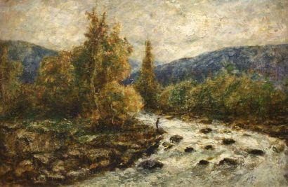 Louis Hilaire Carrand (1821 - 1899)  Le pécheur dans le torrent  Huile sur panneau....