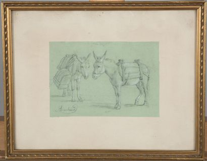 Jean-Antoine DUCLAUX (1783-1868).  Les mules....
