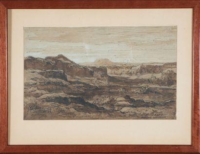 Hector Allemand (1809-1886).  Paysage d'Optevoz,...