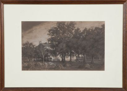 Jean-Antoine DUCLAUX (1783-1868).  Maison à Vourles, 1830.  Fusain et craie blanche...
