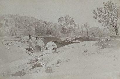 Ecole française du XIXème siècle.  Route...