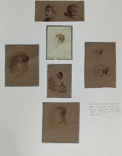 Ecole française du XIXème siècle.  Portraits....