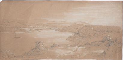 Jean-Antoine DUCLAUX (1783-1868).  Lot de 5 oeuvres:  Brignais.  Mine de plomb...