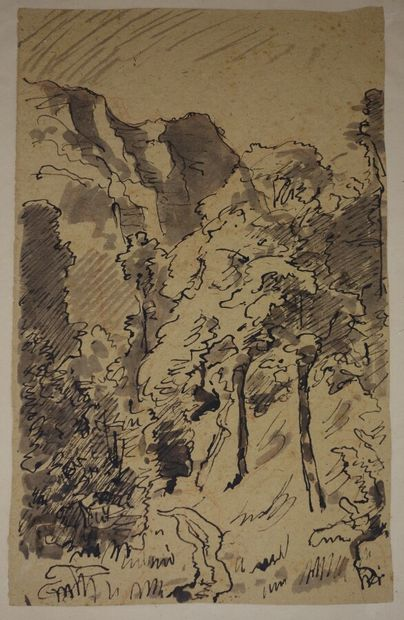 Attribué à François Vernay (1821-1896).  Paysage...