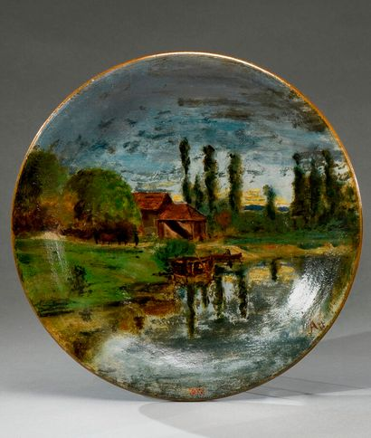 Adolphe Appian (1818-1898).  Maison et barques...