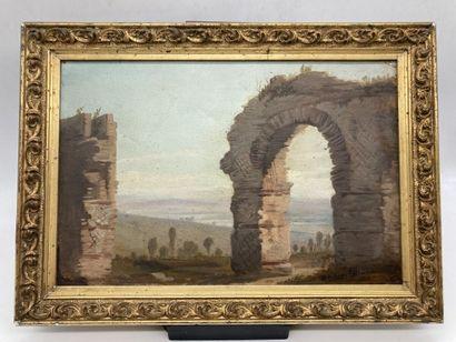 Ecole du XIXe siècle.  Ruines antiques.  Huile...