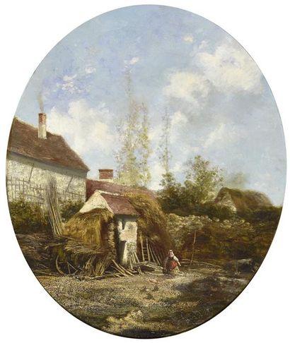 Alexandre Defaux (1826-1900)  Cour de ferme...