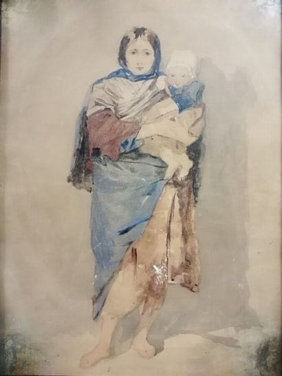 Ecole française du XIXème siècle.  Femme portant un enfant dans ses bras.  Aquarelle...