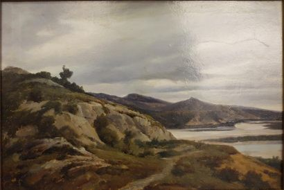 Alexandre Dubuisson (1805-1870).  Paysage...